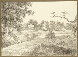 View with tank and temple near the encampment at Chandakonna, 119 miles from Calcutta (Bengal). 30 January 1823